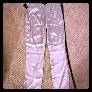 Silver Straight Leg Satin Trouser